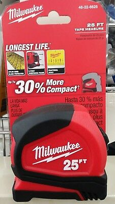Milwaukee 25 Foot  Tape Measure - 48-22-6625  - New on the Card  - Free Shipping