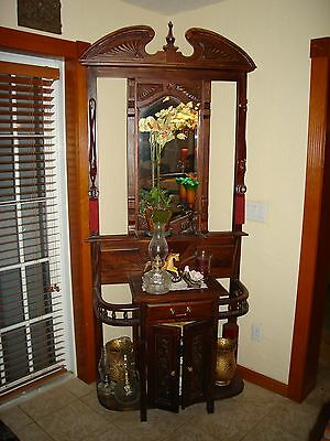 Hall Tree,ornate solid wood,hat/coat rack,umbrella holder storage unit