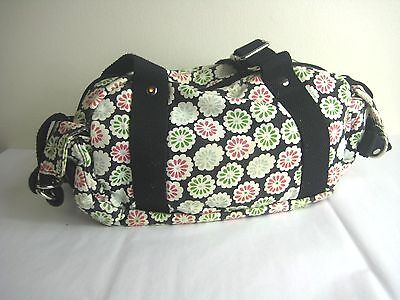 Old Navy 100% Cotton Floral Black Silver Small Duffle Tote Purse Hand Bag