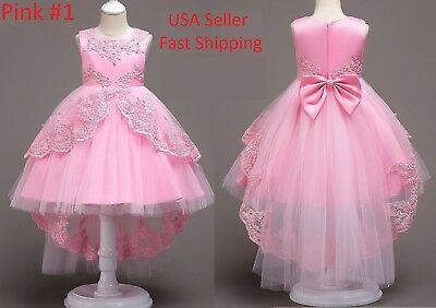 Kids Flower Girl Bow Princess Dress for Girls Party Wedding Bridesmaid Gown O80