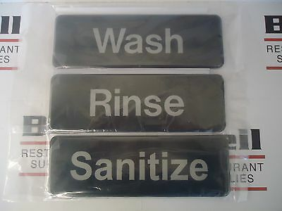 "*NEW* 3"" x  9"" Sign Set - WASH, RINSE, & SANITIZE"