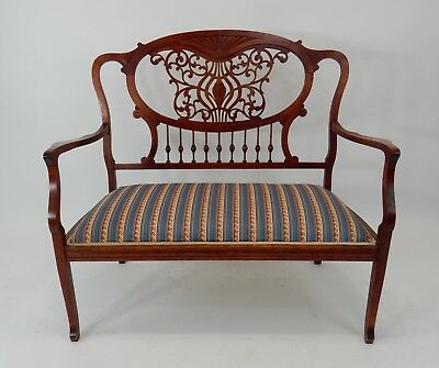 Antique Victorian Mahogany Settee Great Fabric and condition. 41.5 inches