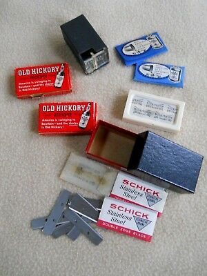 5 Packages of Vintage shaving Razor Blades/Wilkinson/ Old Hickory Bourbon Adver