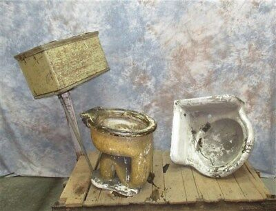 Crane Sink Toilet Stool Wooden Wall Mount Flush Tank Vintage Bathroom Fixtures