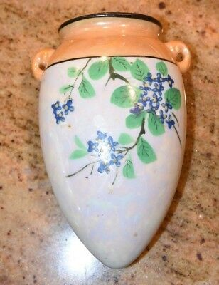 "1930's Luster Ware Hand Painted BLUE BLOSSOMS  Wall Pocket Japan OPALESCENT 6""L"