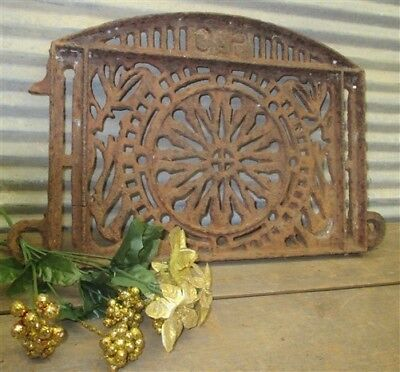 Ornate Heavy Cast Iron Grate Cover Architectural Salvage Fireplace Grate Vintage