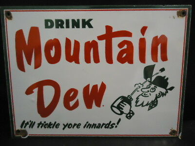 Old Used Mountain Dew Porcelain Sign Advertising (No Reserve)