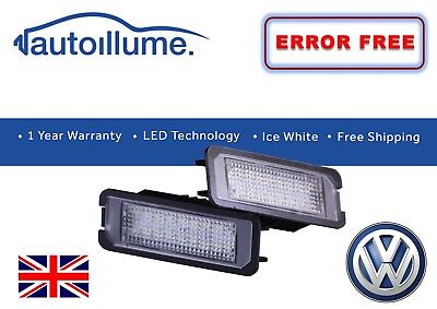 VW Polo Mk5 6R GTI LED Number Plate Light Units 18SMD Canbus Compatible