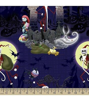 Nightmare Before Christmas Fabric Sold By The Half Yard Santa Jack And Sally