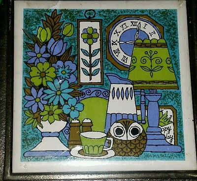 Vintage Cast Iron Retro Tile Trivet Teapot Shape Design Coffee Owl Japan NIP