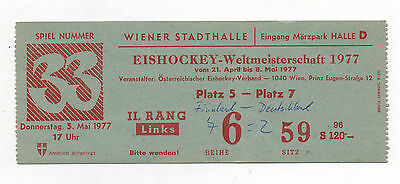 Orig.ticket    Icehockey World Champ. AUSTRIA 1977   GERMANY - FINLAND  !!  RARE