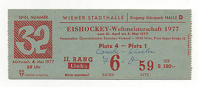 Orig.ticket   Icehockey World Champ. AUSTRIA 1977   CANADA - SWEDEN  FINAL ROUND
