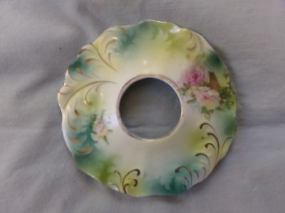 vintage porcelain hair receiver lid with pink roses & gold swirls