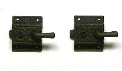 Matching Pair Of Vintage Cast Iron Cabinet / Door  Locks With Handles