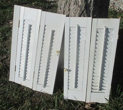 2 Pair Wood Shutters Victorian Window Louver Plantation Door Mission Vintage a21