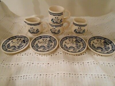 Vintage Childs Toy BLUE WILLOW TEA SET DISHES 8 pieces in all