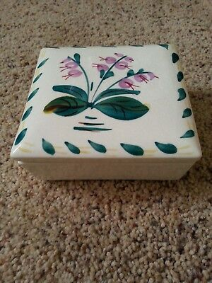 Rare Blue Ridge Pottery Cigarette Box Hand Painted Flower No chips & maker mark