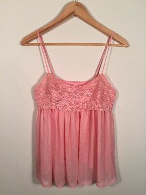 Victoria's Secret Babydoll Camisole Size L Large Lace Pink Shimmer Tank Top
