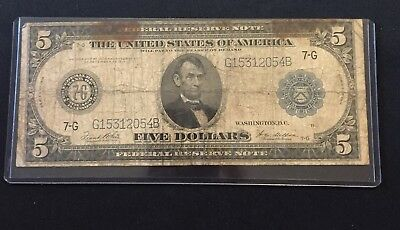 1914 Series $5 Five Dollar Federal Reserve Note 7G