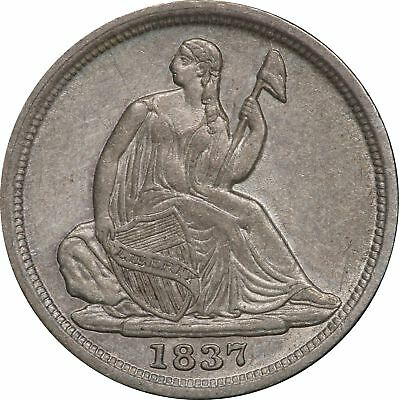 1837 P Seated Liberty Half Dime, No Stars, AU H10C About Uncirculated
