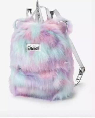 NWTJustice Mini Fuzzy Faux Fur Ombre Unicorn Backpack