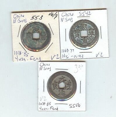 China N. Sung, large Value 2 cash 3 diff. all over 900 years old, nice pieces