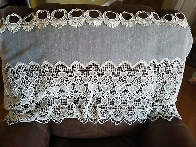 "Vintage Lace Heart Design Shabby Chic Cottage Ivory Valance Curtain 54"" x 24"""
