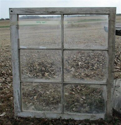 Old Wood Window Frame 6 Glass Panes Rustic Shabby Chic Cottage Decor 31x28.25 gg
