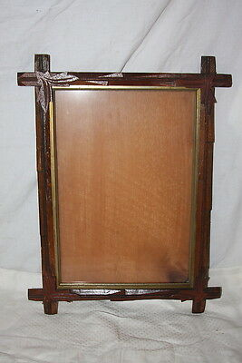 Antique Victorian Black Walnut Forest Frame Oak Leaf Corner