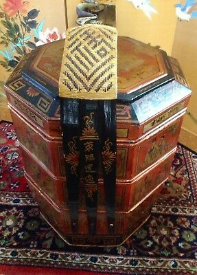 Vintage Large Chinese Tiered Stacking Wood Wedding Basket Hand Painted Lacquered