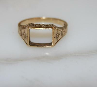 10K Yellow Gold Victorian Men's Ring Setting Finding Detailed Chased Desing NICE