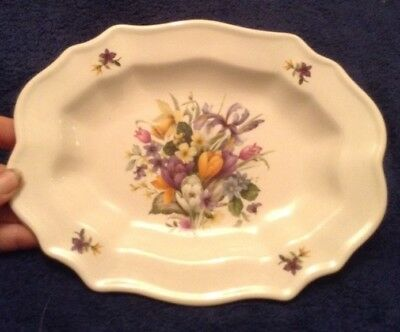 prinknash abbey pottery, wavy plate with spring flowers,crocus,iris,daffodil