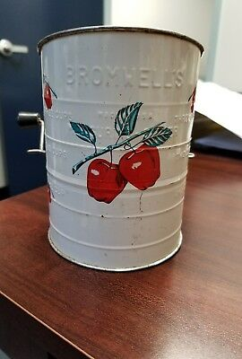 Vintage Bromwell's Flour Sifter Measuring 3-Cup Sifter White W/red Apples
