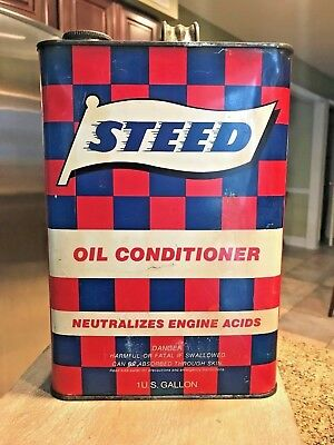 Vintage Steed Oil Conditioner Can 1 Gallon Metal Can Good Shape-Itasca, Il Empty