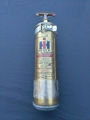 1965 International Harvester Brass Fire Extinguisher With Mounting Brackets