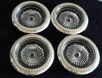 "Set Of 4 Vintage Sterling Silver And Crystal marked Coasters,4"" Diameter (Outer)"