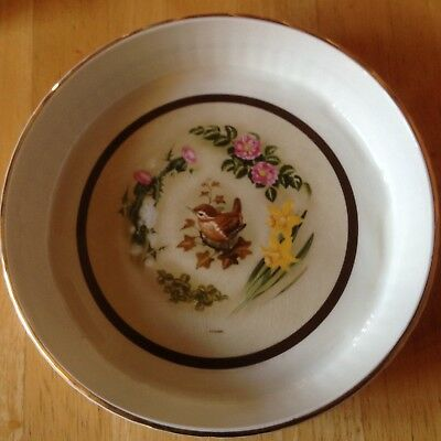 Gorgeous Crown Devon Flan dish with Bird and flowers pattern approx 8 1/2 ins