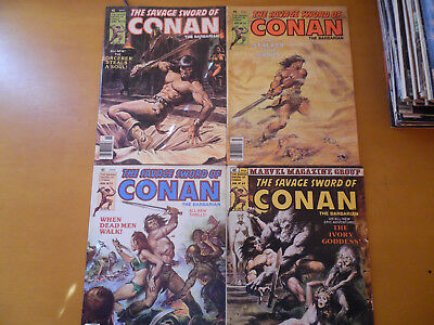 Conan The Savage Sword of Conan Lot of 4 #53 #54 #55 #60 Magazine Marvel