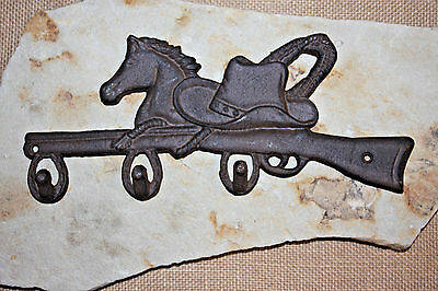 (1), WESTERN TRIPLE WALL HOOKS bar,RANCH DECOR,BOOTS, HATS,HORSES,COUNTRY, W-12