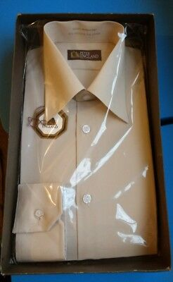 Retro 1970/80s style Peter England champage coloured shirt 15.5 inch collar