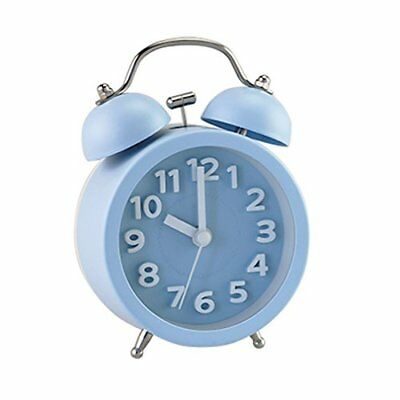 Blue Mini Vintage Classic Bedside Analog Alarm Clock Backlight Battery Operated