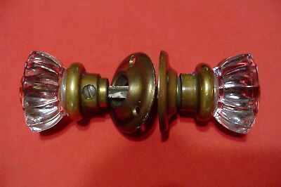 VINTAGE GLASS DOOR KNOBS with BRASS ESCUTCHEONS