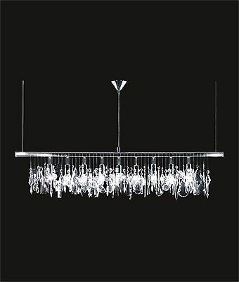 "Long 10-Light CRYSTAL PENDANT Ceiling Fixture CHROME L40"" x W3"" x H11""-48"" Adj."