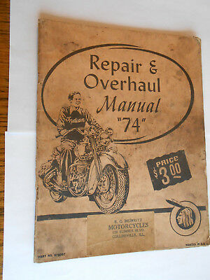 vintage Indian Motorcycle repair & overhaul manual 74 Heinritz Collinsville ILL