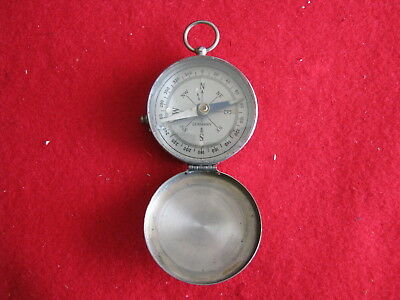 Vintage Small Metal Case Compass with Needle Locking Stem - Made in Germany