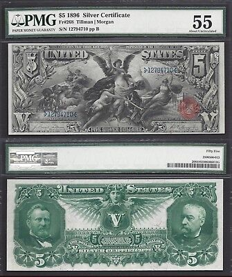 $5 1896 SILVER CERTIFICATE=EDUCATIONAL=Fr. 268=ELECTRICITY=PMG ABOUT UNC. 55