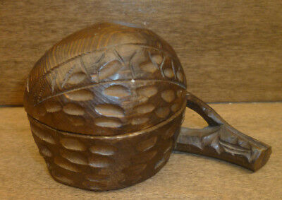 Antique Black Forest Hand Carved Walnut Nut inkwell C. 1900