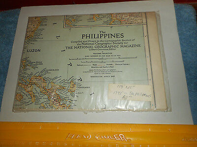 Vintage PHILIPPINES Map 1945 POLYCONIC PROJECTION National Geographic SocietyNEW