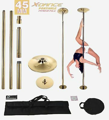 9 Ft 45mm GOLD X-Dance Portable Exotic Stripper Dance Pole Fitness +Carry Bags