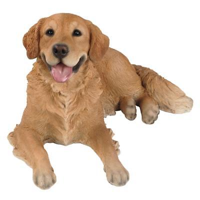 Life Size Golden Retriever Statue Collectible Dog Glass Eyes